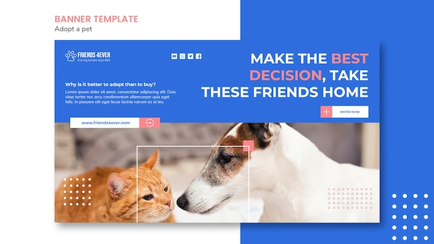 Banner template for adopting a pet with cat and dog