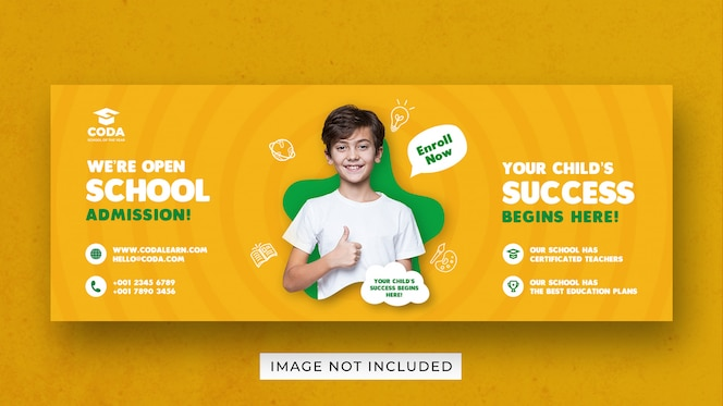 banner template for back to school admission for social media
