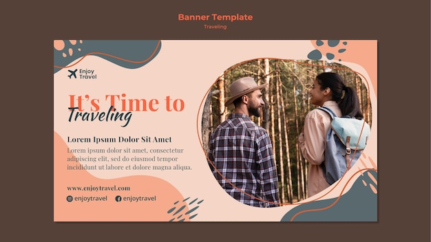 Banner template for backpack traveling with couple