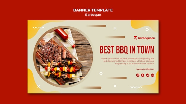 Banner template for barbecue restaurant