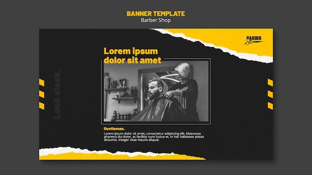 Banner template for barber shop business