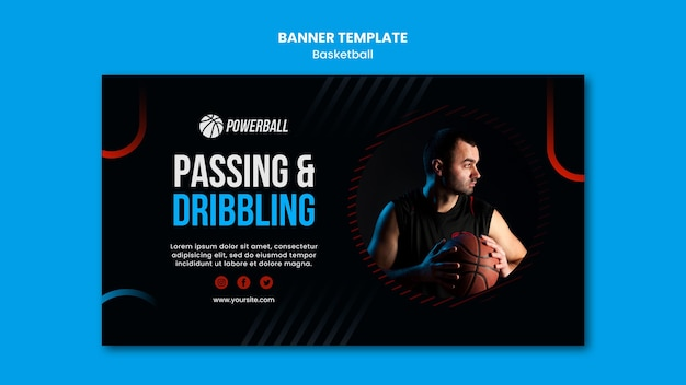 Banner template for basketball game playing