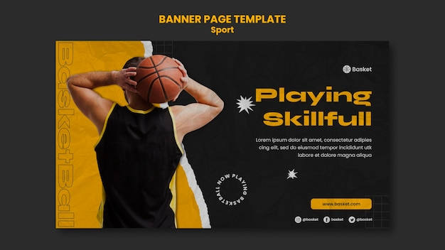 Banner template for basketball game with male player
