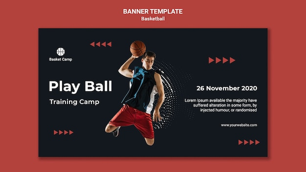 Banner template for basketball training camp