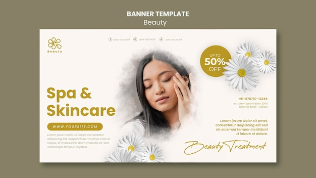 Banner template for beauty and spa with woman and chamomile flowers