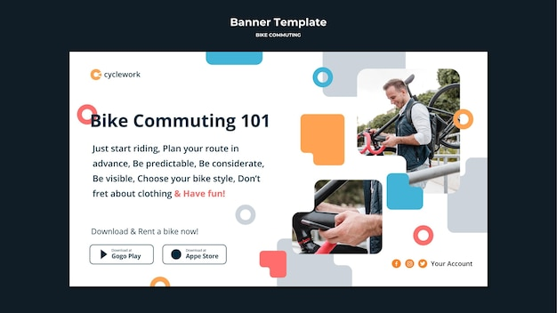 Banner template for bicycle commuting with male passenger