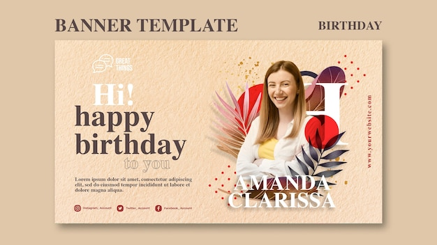 Banner template for birthday anniversary celebration Free Psd