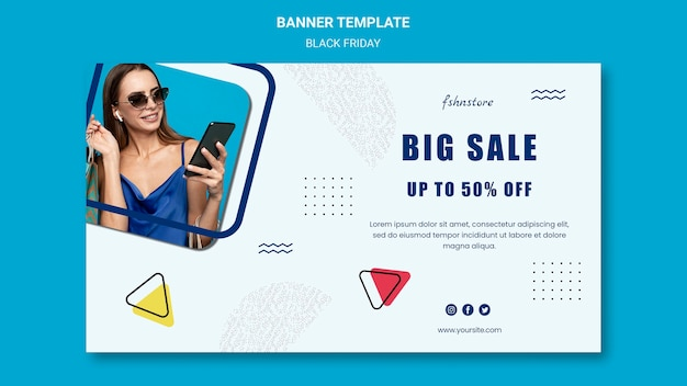 Banner template for black friday with woman and triangles
