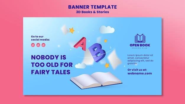 Banner template for books with stories and letters