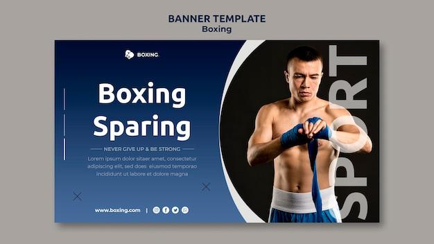 Modello di banner per lo sport di boxe con boxer maschio