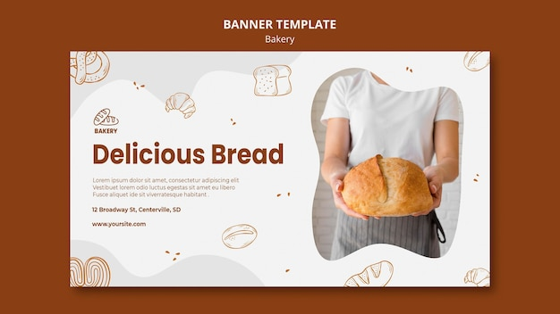 Banner template for bread baking shop