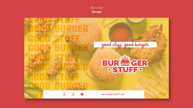 Banner template for burger diner