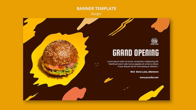 Banner template for burger restaurant