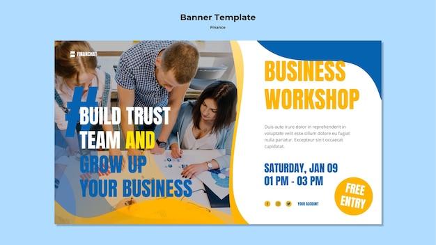 Modello di banner per seminario di affari e finanza