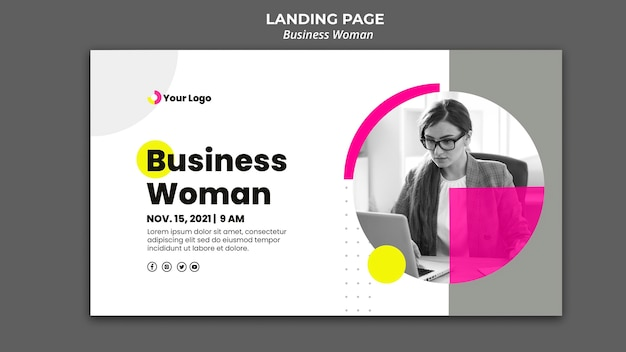 Banner template for businesswoman