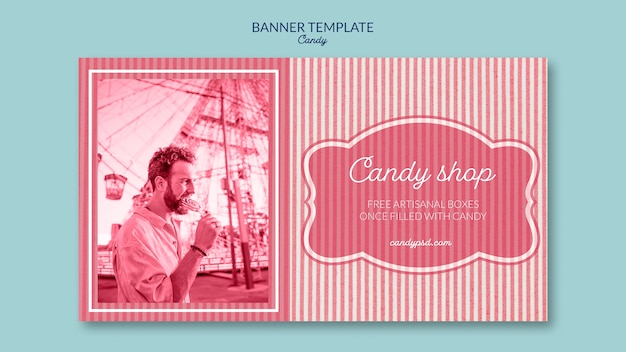 Banner template for candy shop with man and lollipop