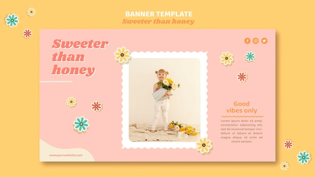 Banner template for children with flowers
