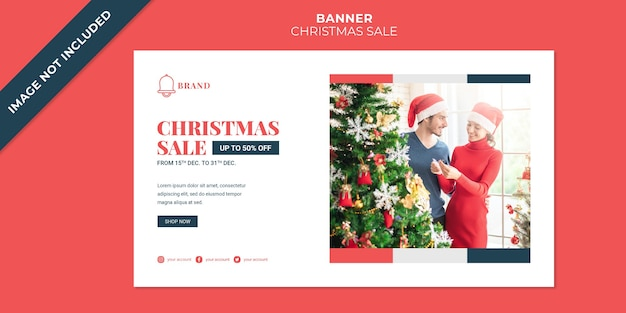 Banner template for christmas sale discount template