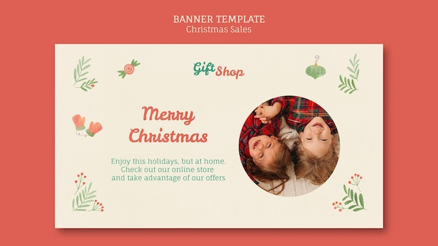 Banner template for christmas sale with children