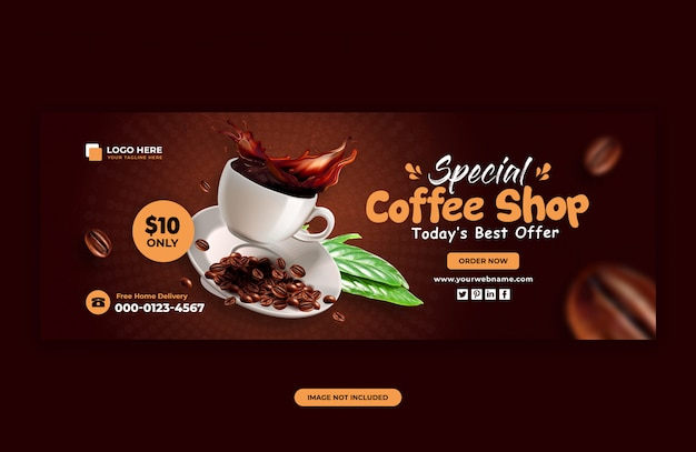 Banner template for coffee sale for social media post
