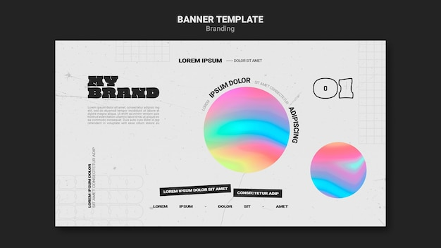 Banner template for company branding with colorful circle shape