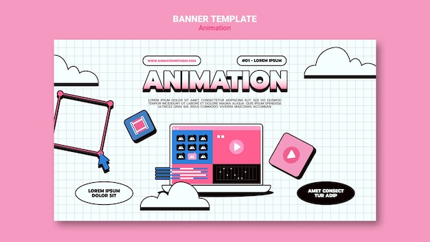 Banner template for computer animation