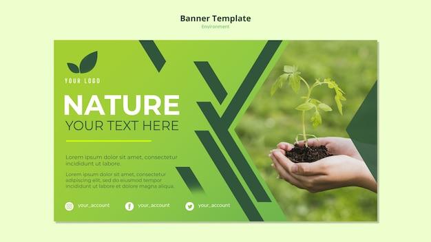 녹색 자연의 배너 템플릿 개념