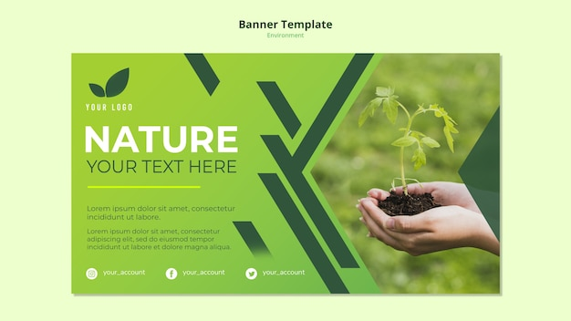 Баннер шаблон концепции зеленой природы