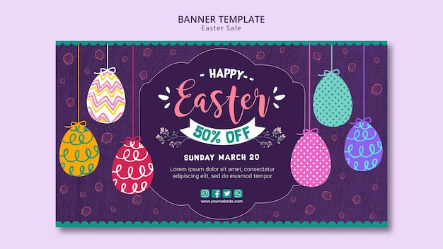 Banner template concept with easter sales