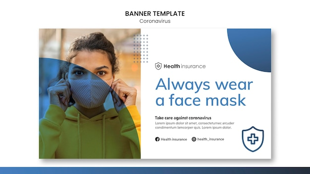 Banner template for coronavirus pandemic with medical mask