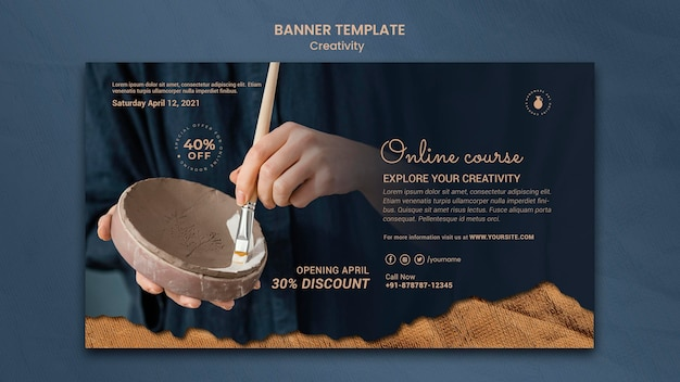 Banner template for creative pottery workshop with woman