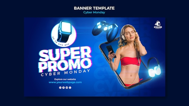 Banner template for cyber monday with woman and items