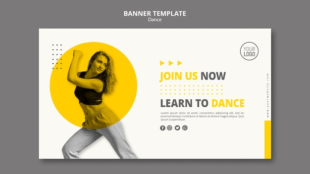 Banner template for dance lessons Free Psd