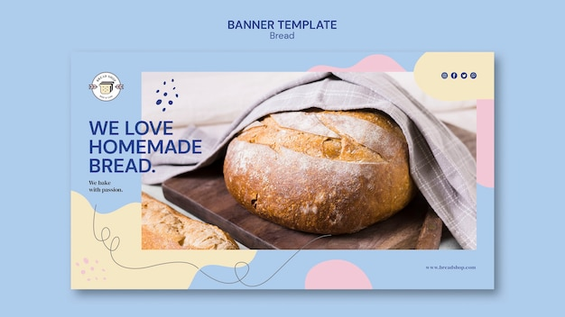 Banner template design with bread
