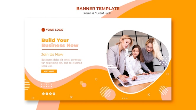 Banner template design with business team