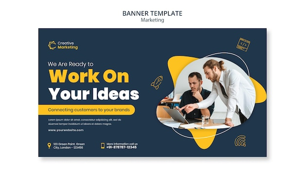 Banner template design with people working together Free Psd