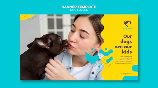 Banner template for dog lovers with female owner
