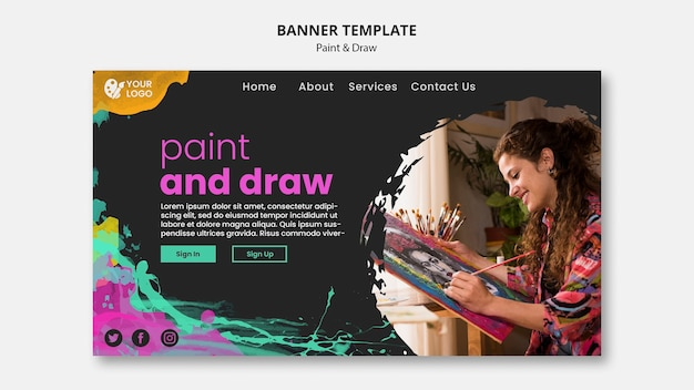 Banner template for drawing and painting artists