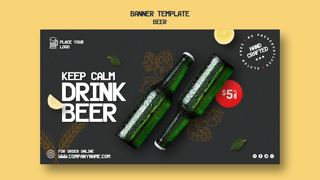 Banner template for drinking beer