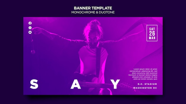 Banner template in duotone with musicians in concert