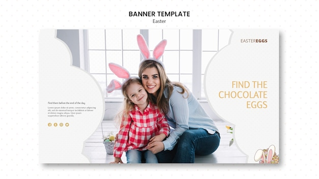 Banner template for easter with mother and child wearing bunny ears