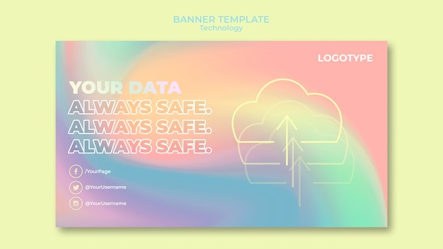 Banner template for electronic technology