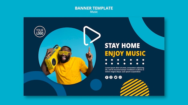 Banner template for enjoying music during quarantine