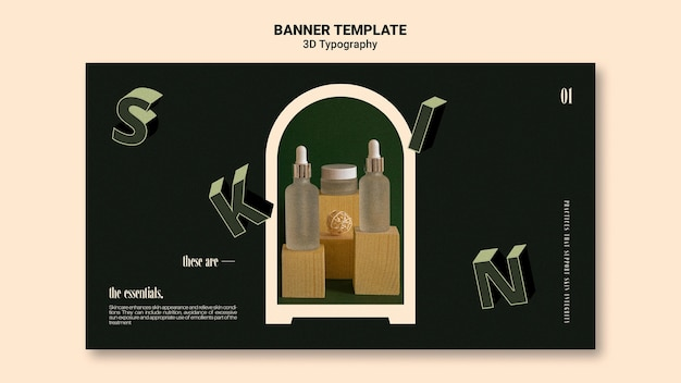 Banner template for essential oil bottle display with three-dimensional letters