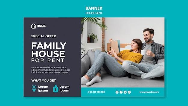 Modello di banner per l'affitto di una casa familiare