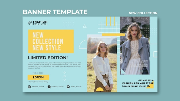 Modello di banner per collezione di moda con donna in natura