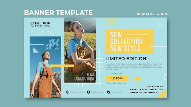 Banner template for fashion collection with woman in nature Premium Psd