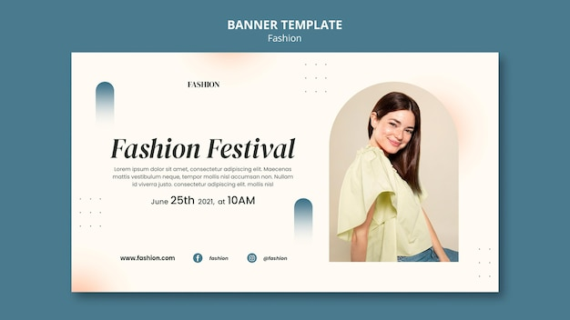 Banner template for fashion style and clothing with woman