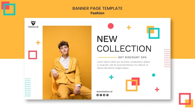 Banner template for fashion with male model