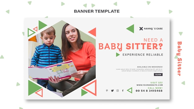 Modello di banner per baby-sitter femmina con bambino